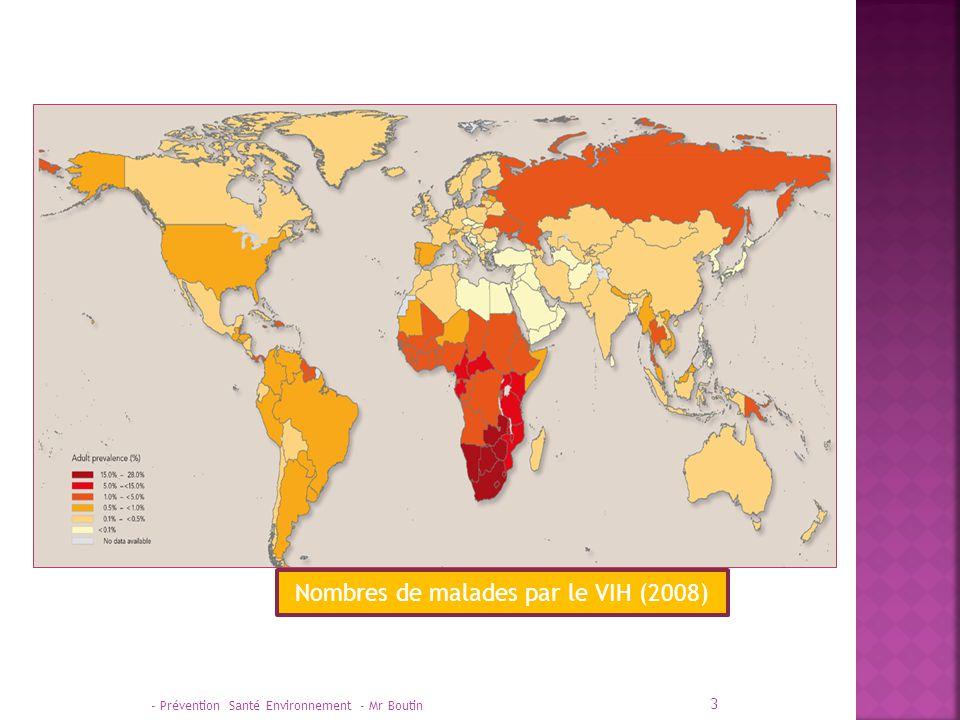 Nombres de malades par le VIH (2008)