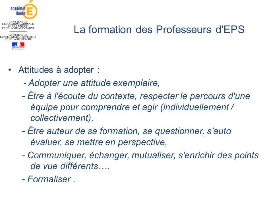 La formation des Professeurs d EPS