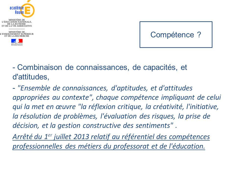Compétence - Combinaison de connaissances, de capacités, et d attitudes,