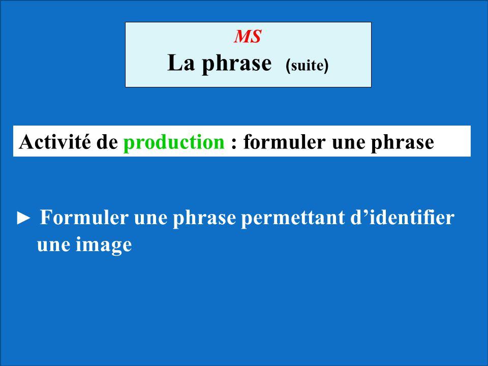 La phrase (suite) Activité de production : formuler une phrase MS