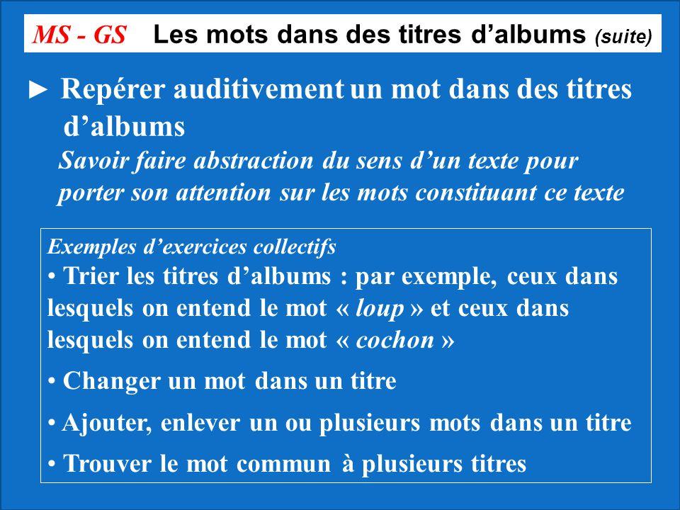 MS - GS Les mots dans des titres d'albums (suite)
