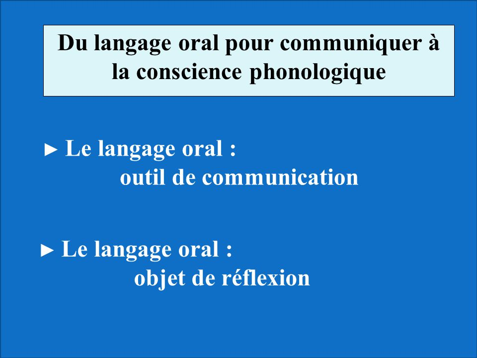 Du langage oral pour communiquer à la conscience phonologique