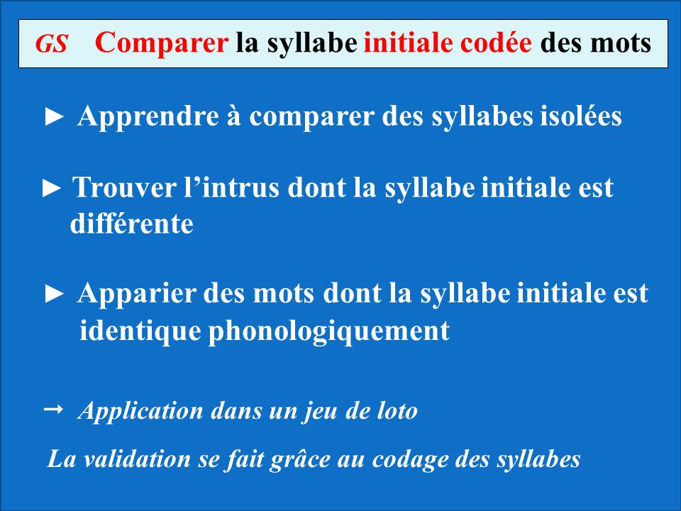 GS Comparer la syllabe initiale codée des mots