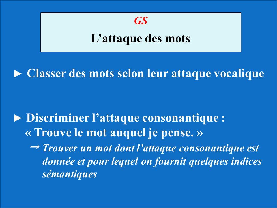 GS L'attaque des mots. ► Classer des mots selon leur attaque vocalique.