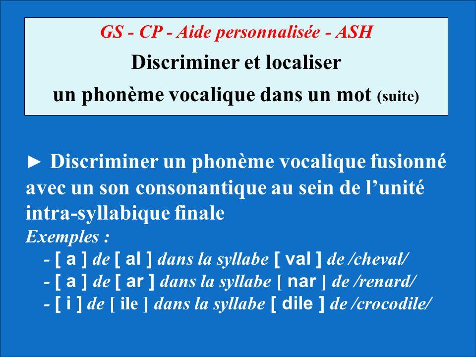 Discriminer et localiser un phonème vocalique dans un mot (suite)