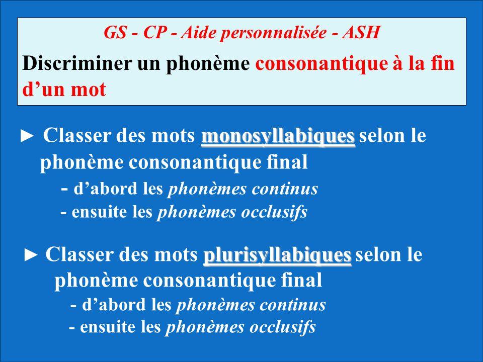 GS - CP - Aide personnalisée - ASH