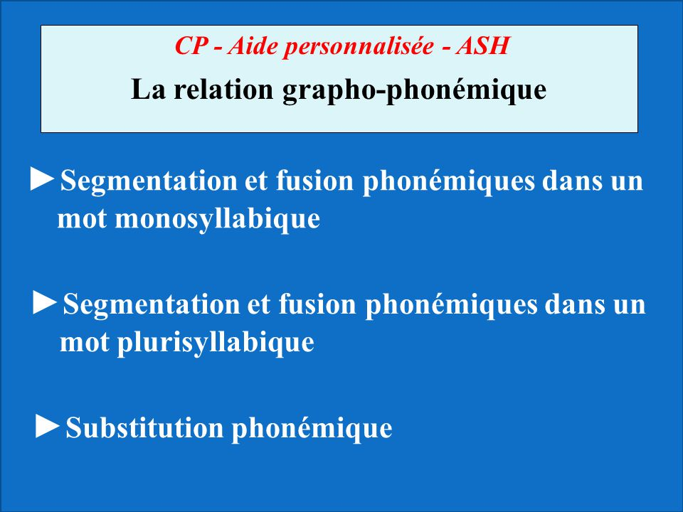 La relation grapho-phonémique