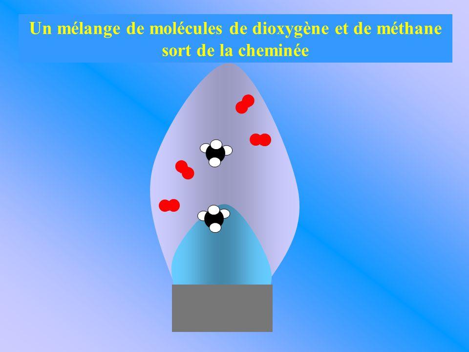Un mélange de molécules de dioxygène et de méthane sort de la cheminée