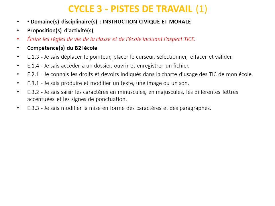 CYCLE 3 - PISTES DE TRAVAIL (1)