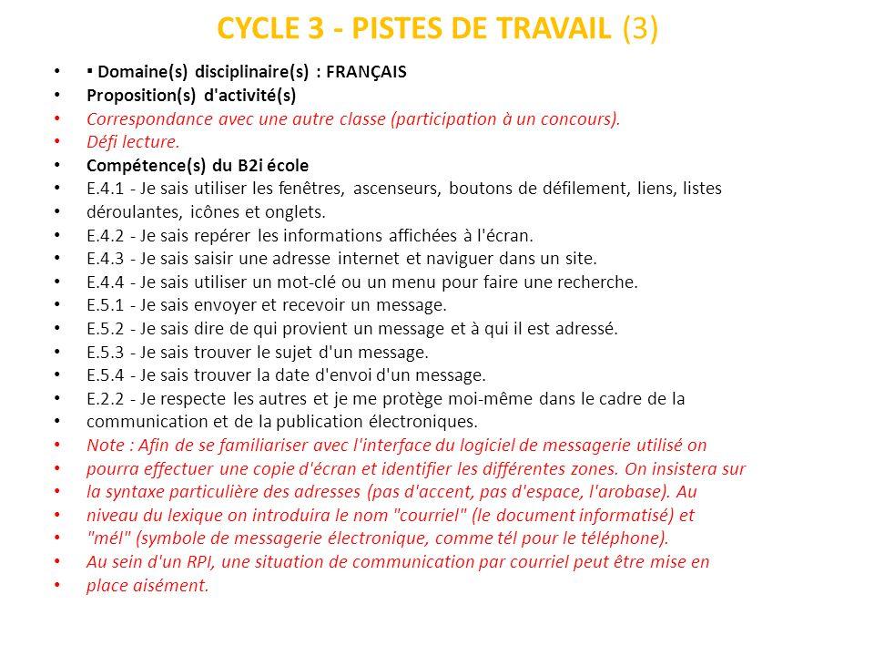 CYCLE 3 - PISTES DE TRAVAIL (3)