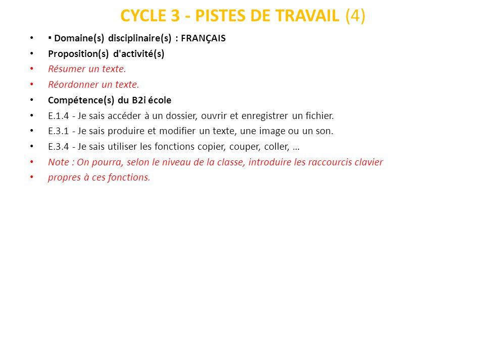CYCLE 3 - PISTES DE TRAVAIL (4)