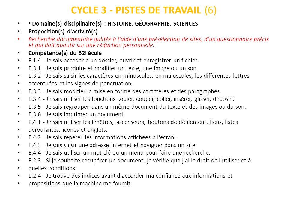CYCLE 3 - PISTES DE TRAVAIL (6)