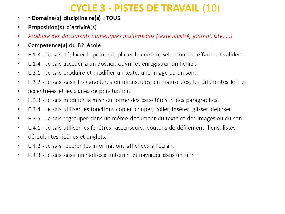 CYCLE 3 - PISTES DE TRAVAIL (10)