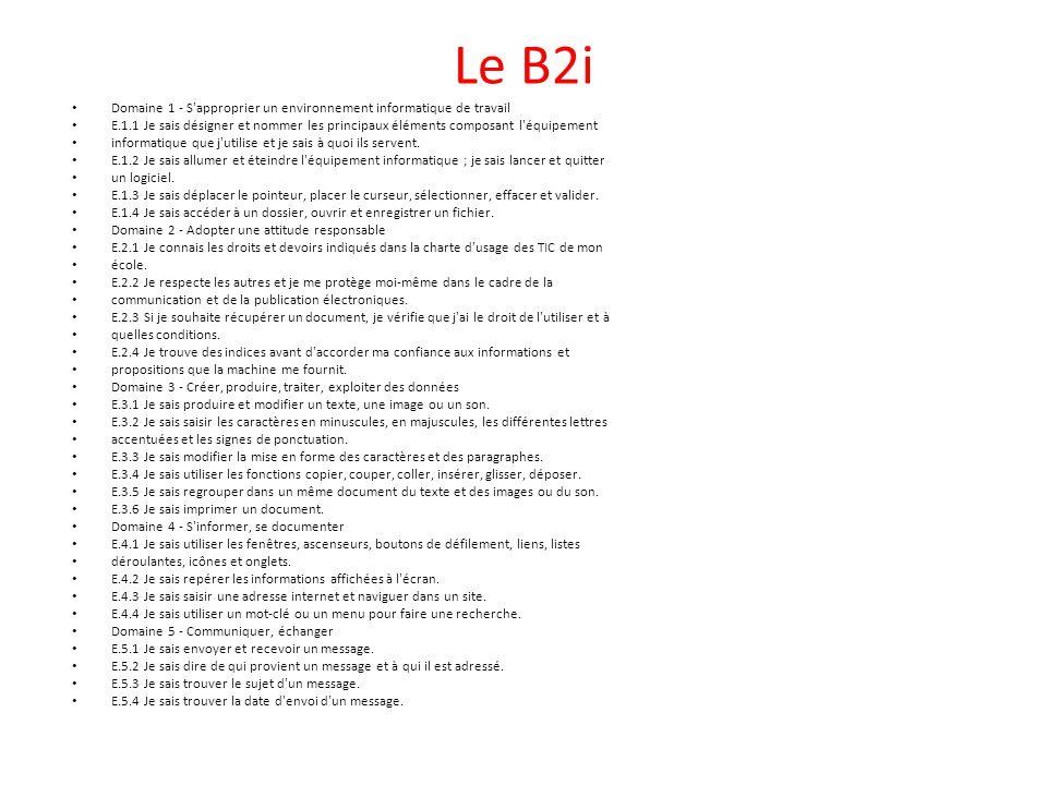 Le B2i Domaine 1 - S approprier un environnement informatique de travail.
