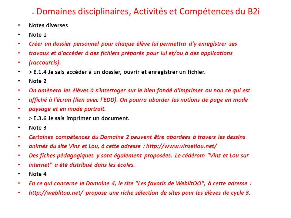 . Domaines disciplinaires, Activités et Compétences du B2i