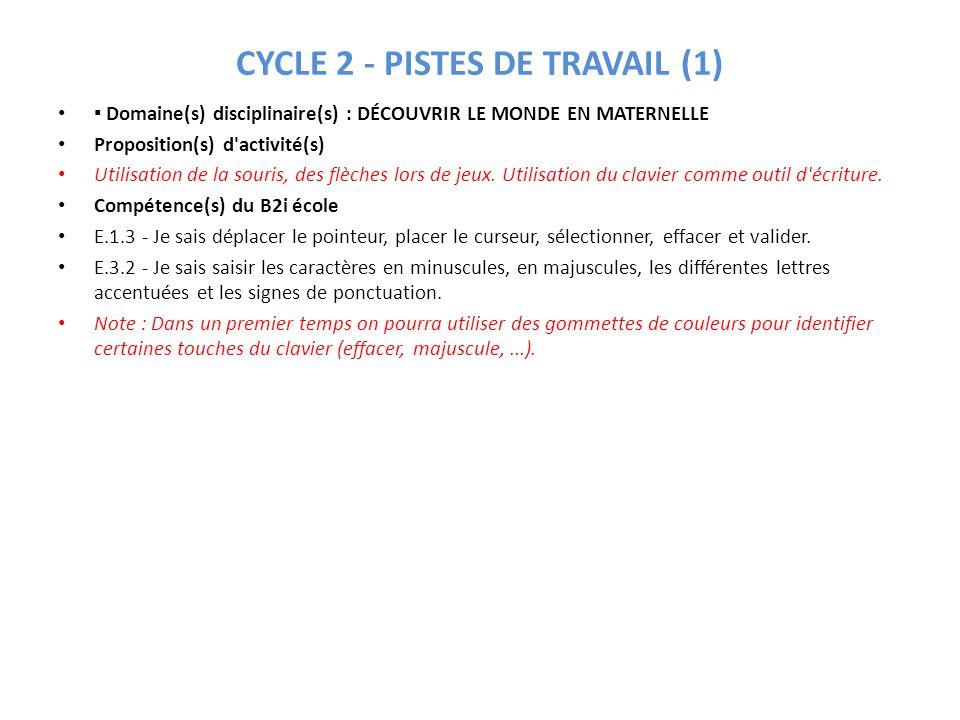 CYCLE 2 - PISTES DE TRAVAIL (1)