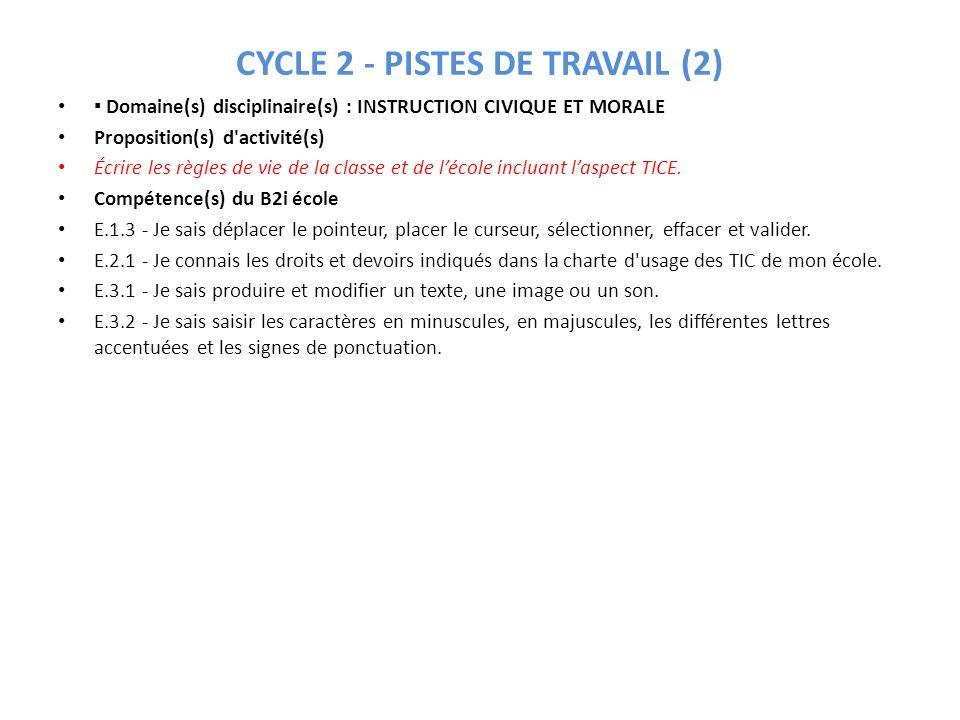 CYCLE 2 - PISTES DE TRAVAIL (2)