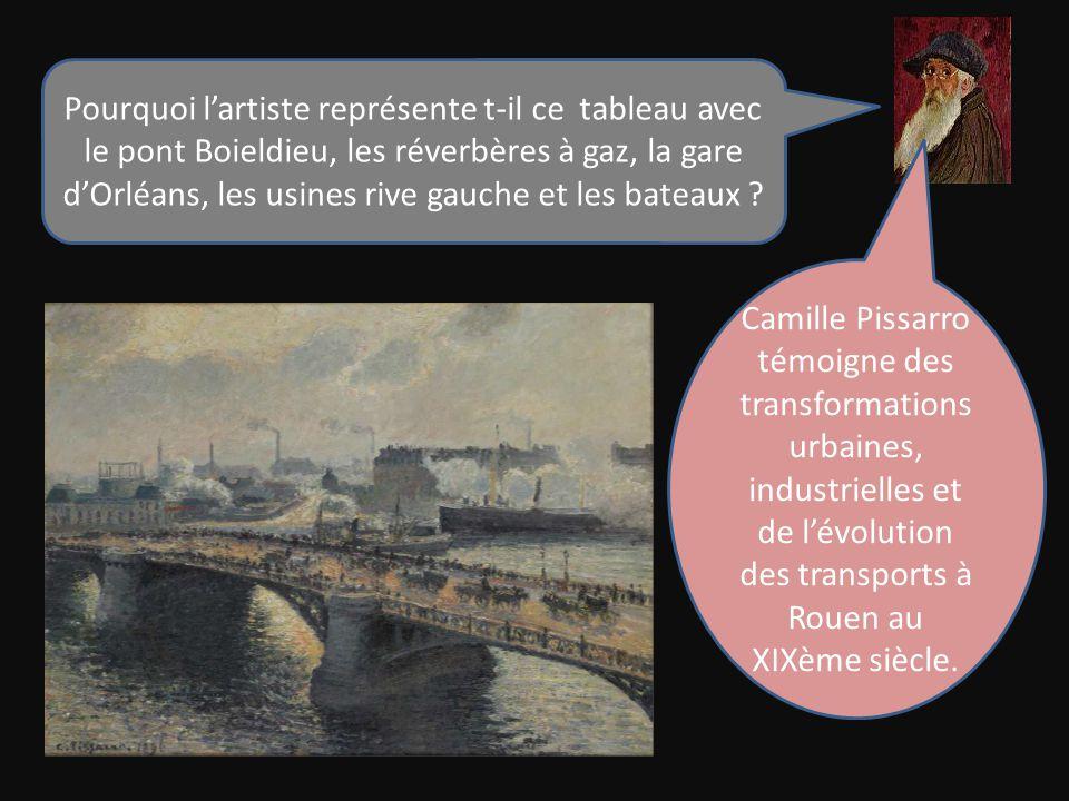 Pourquoi l'artiste représente t-il ce tableau avec le pont Boieldieu, les réverbères à gaz, la gare d'Orléans, les usines rive gauche et les bateaux