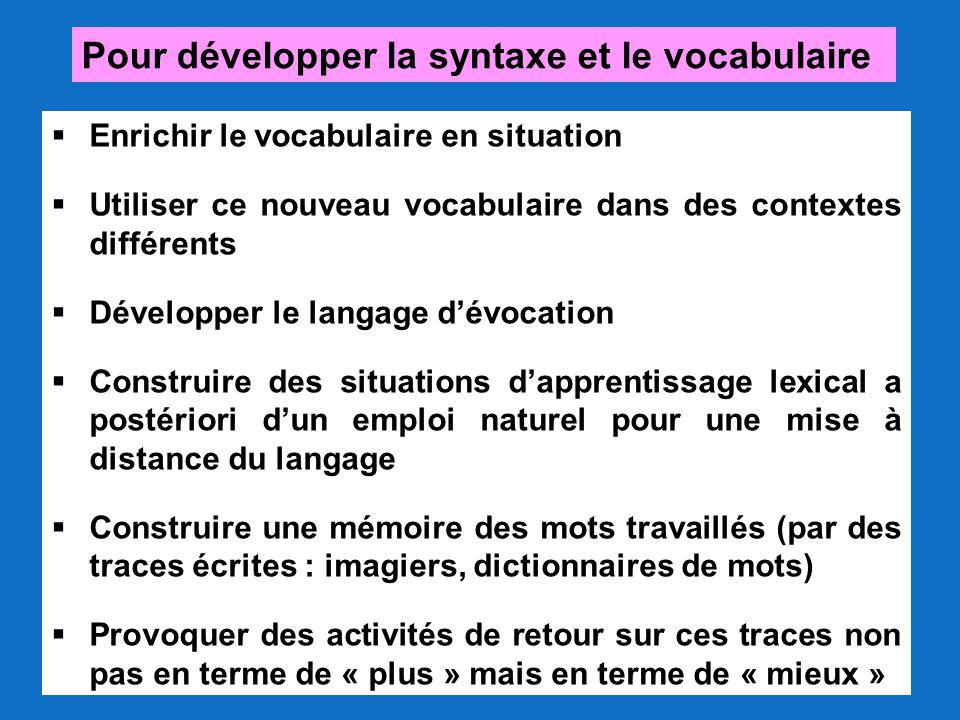 Pour développer la syntaxe et le vocabulaire