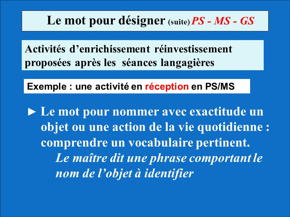 Le mot pour désigner (suite) PS - MS - GS
