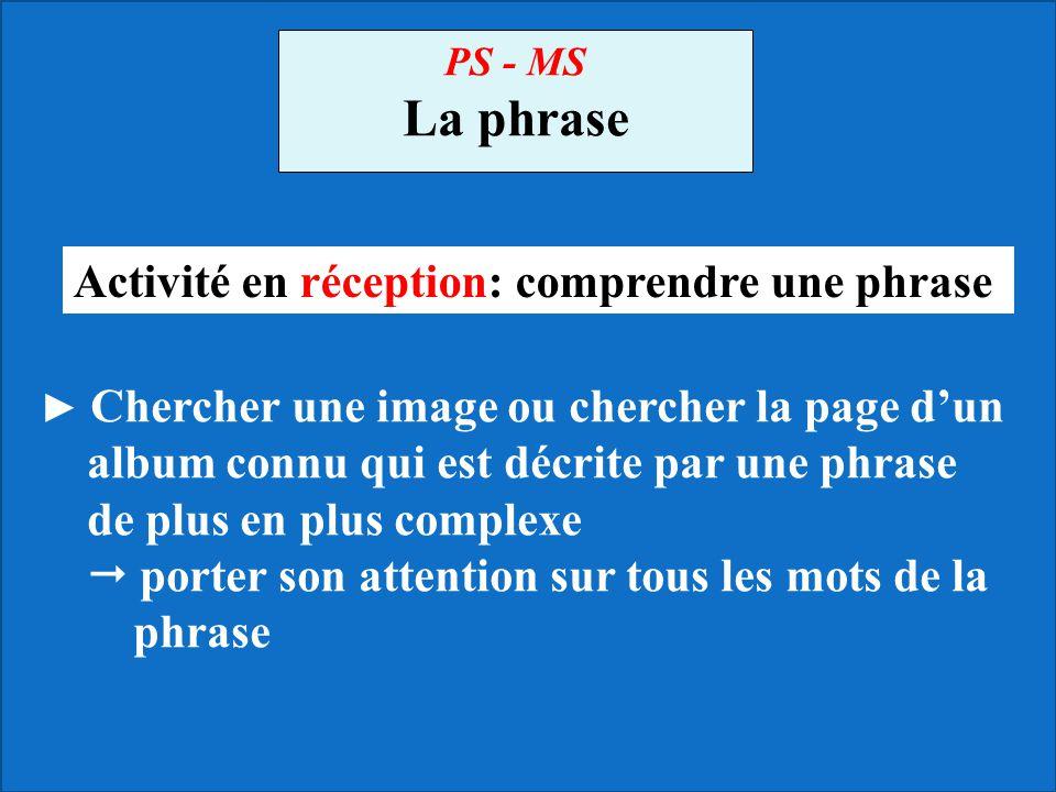 La phrase Activité en réception: comprendre une phrase