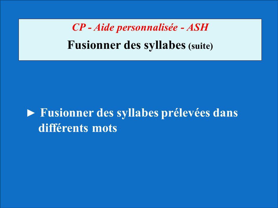 CP - Aide personnalisée - ASH Fusionner des syllabes (suite)