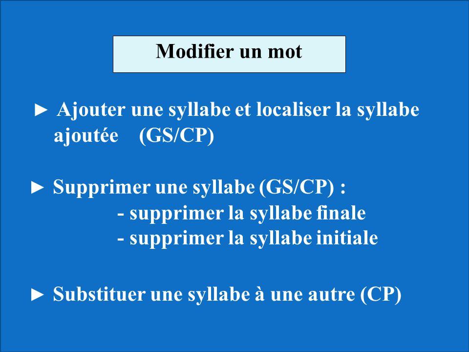 - supprimer la syllabe finale - supprimer la syllabe initiale