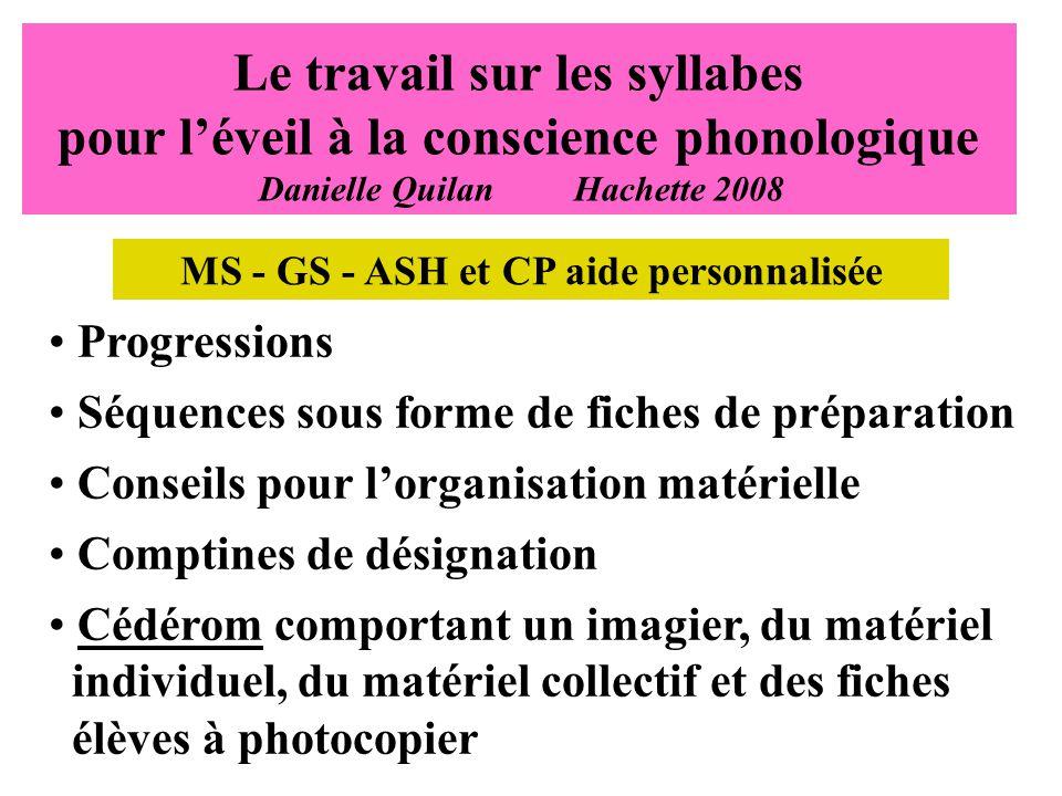 MS - GS - ASH et CP aide personnalisée