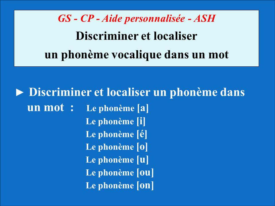 Discriminer et localiser un phonème vocalique dans un mot
