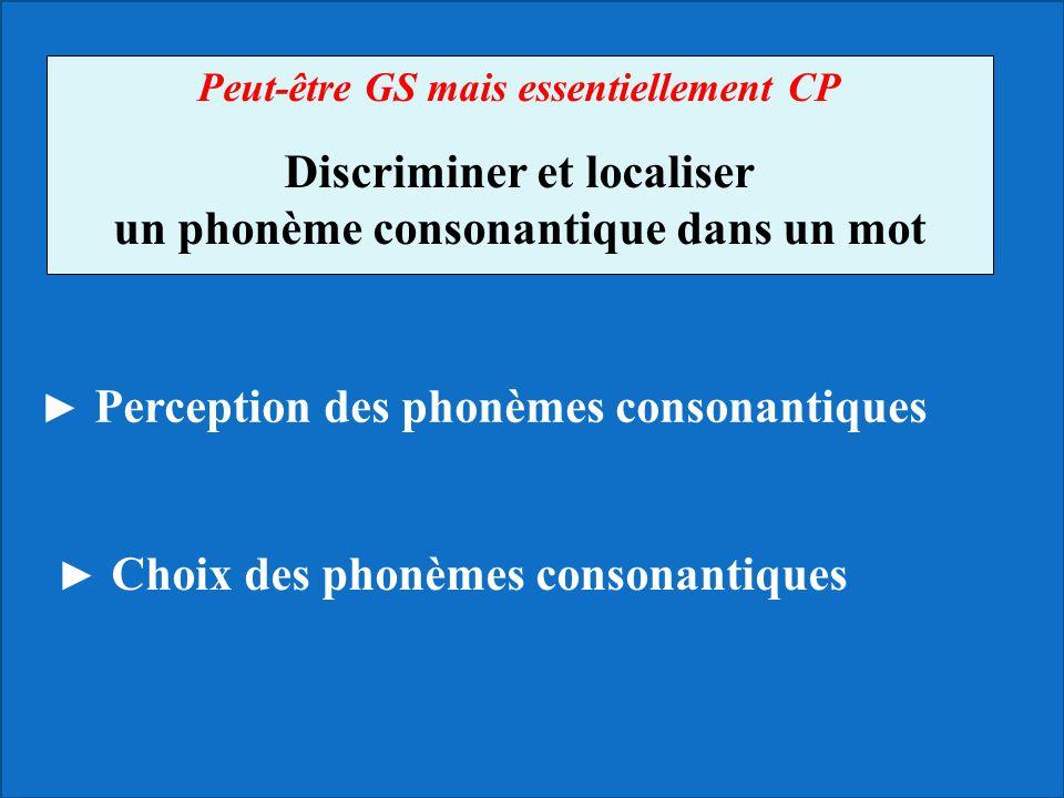 Discriminer et localiser un phonème consonantique dans un mot