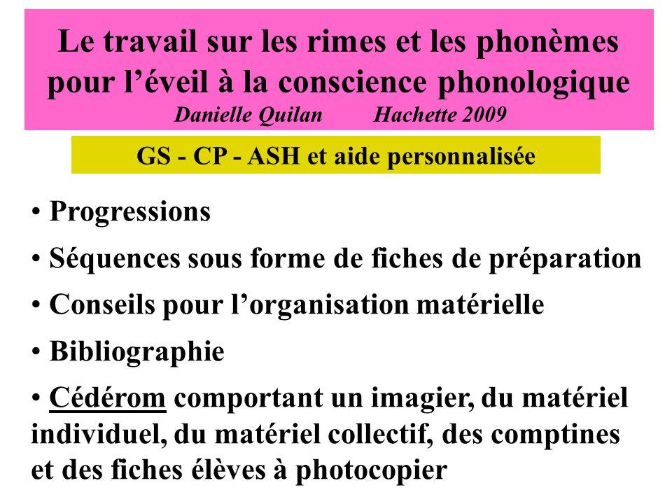GS - CP - ASH et aide personnalisée
