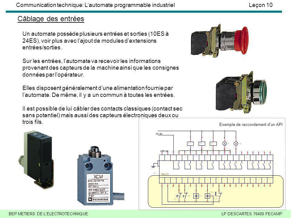 Câblage des entrées Un automate possède plusieurs entrées et sorties (10ES à 24ES), voir plus avec l'ajout de modules d'extensions entrées/sorties .
