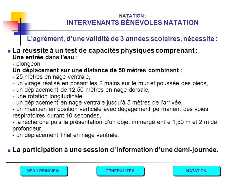 NATATION : INTERVENANTS BÉNÉVOLES NATATION