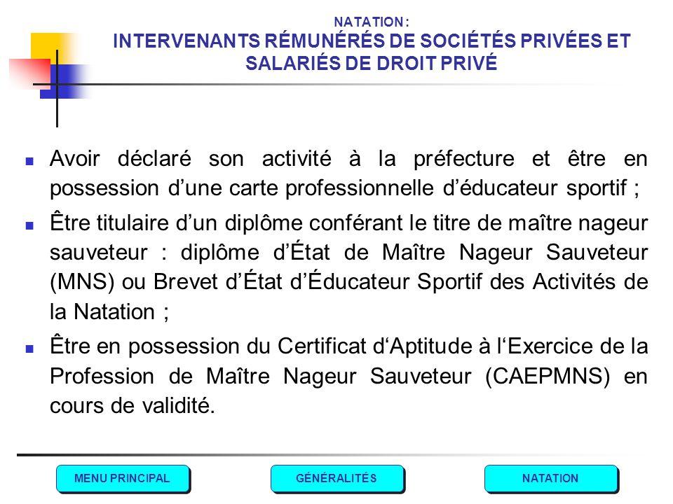 NATATION : INTERVENANTS RÉMUNÉRÉS DE SOCIÉTÉS PRIVÉES ET SALARIÉS DE DROIT PRIVÉ