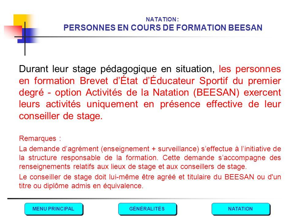 NATATION : PERSONNES EN COURS DE FORMATION BEESAN