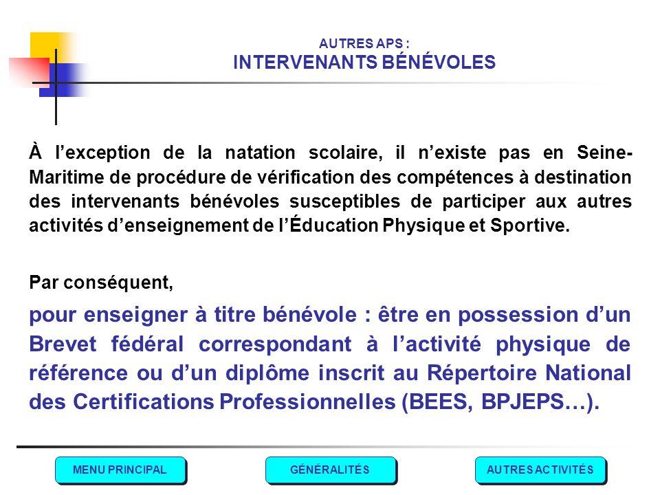 AUTRES APS : INTERVENANTS BÉNÉVOLES