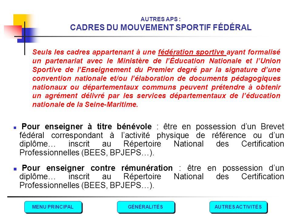 AUTRES APS : CADRES DU MOUVEMENT SPORTIF FÉDÉRAL