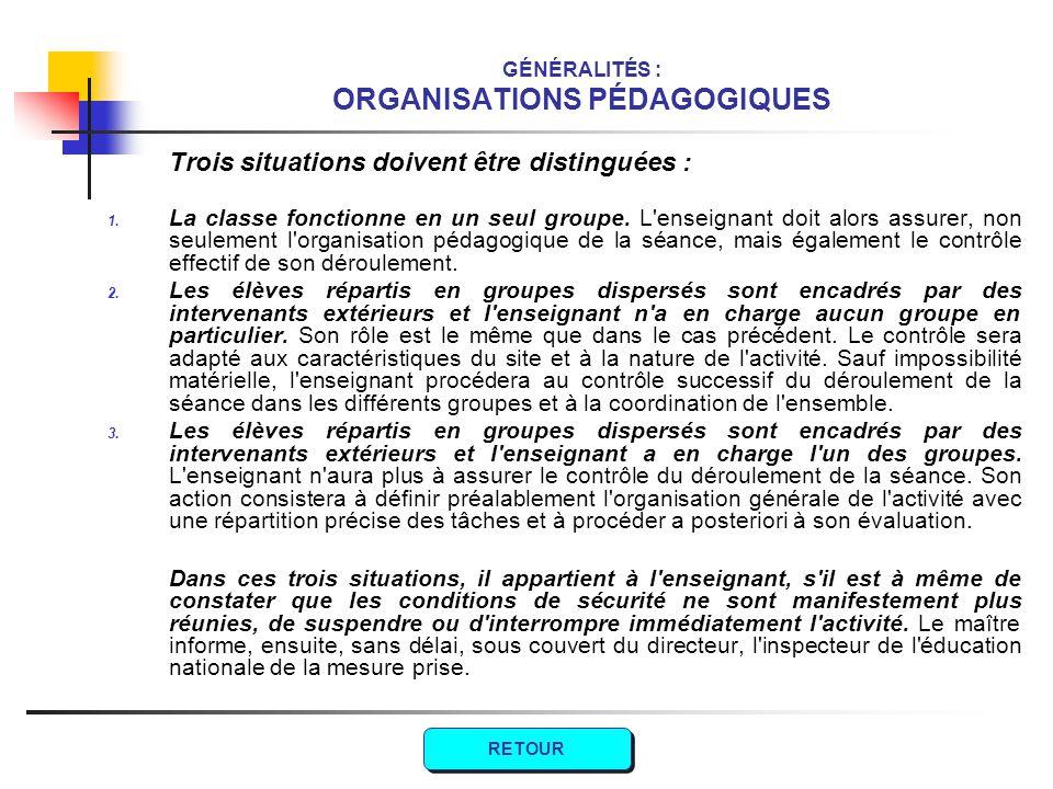 GÉNÉRALITÉS : ORGANISATIONS PÉDAGOGIQUES