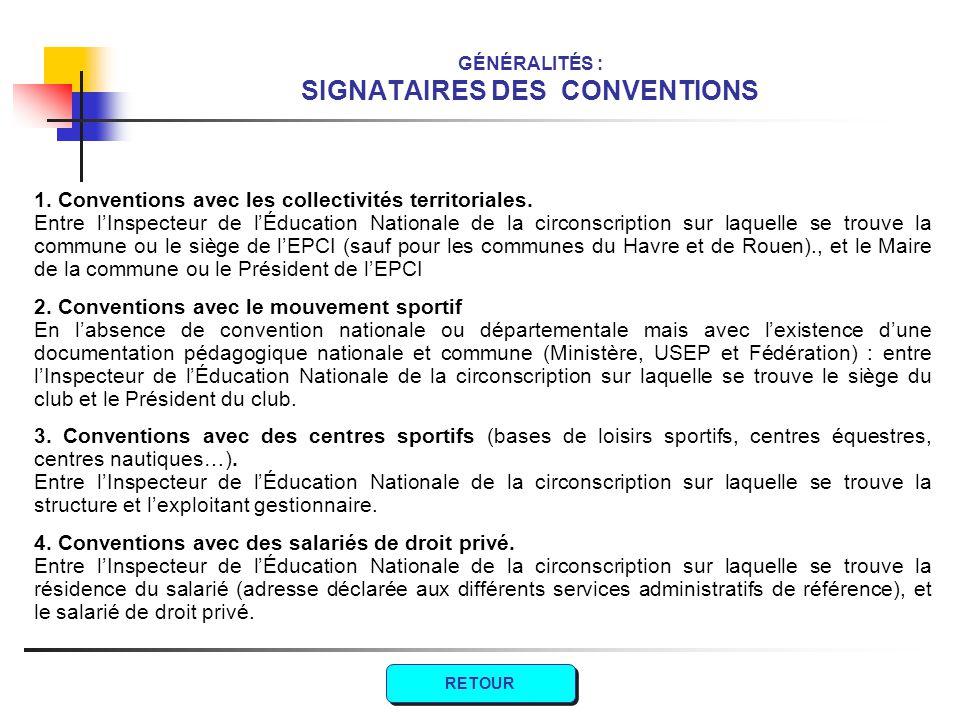GÉNÉRALITÉS : SIGNATAIRES DES CONVENTIONS
