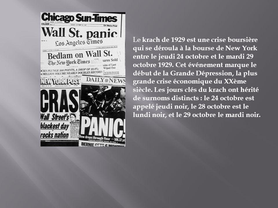 Le krach de 1929 est une crise boursière qui se déroula à la bourse de New York entre le jeudi 24 octobre et le mardi 29 octobre 1929.