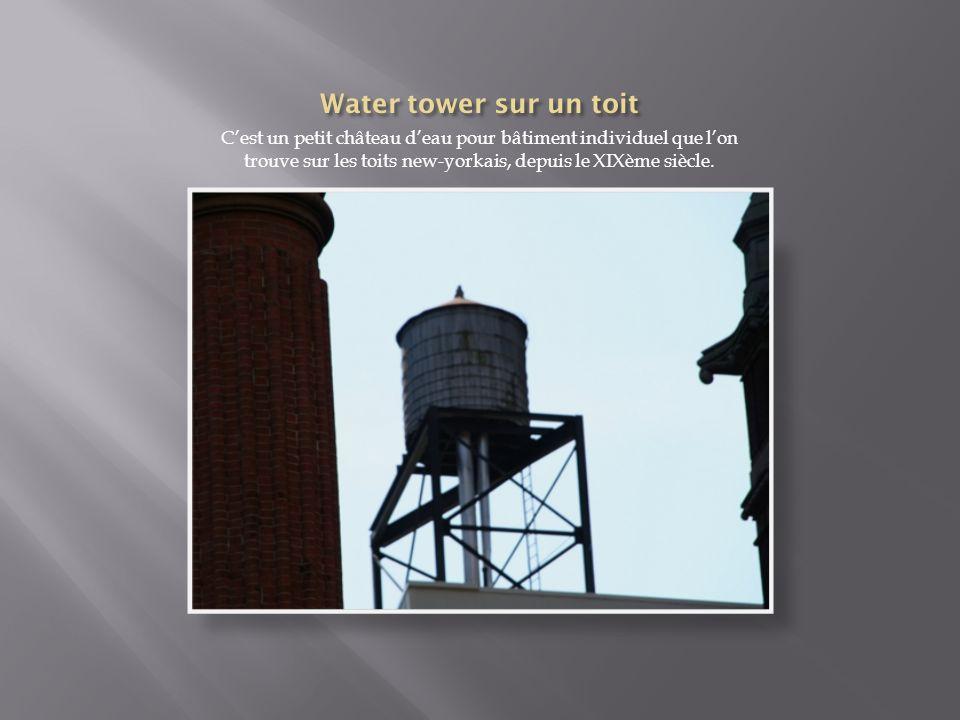 Water tower sur un toit C'est un petit château d'eau pour bâtiment individuel que l'on trouve sur les toits new-yorkais, depuis le XIXème siècle.