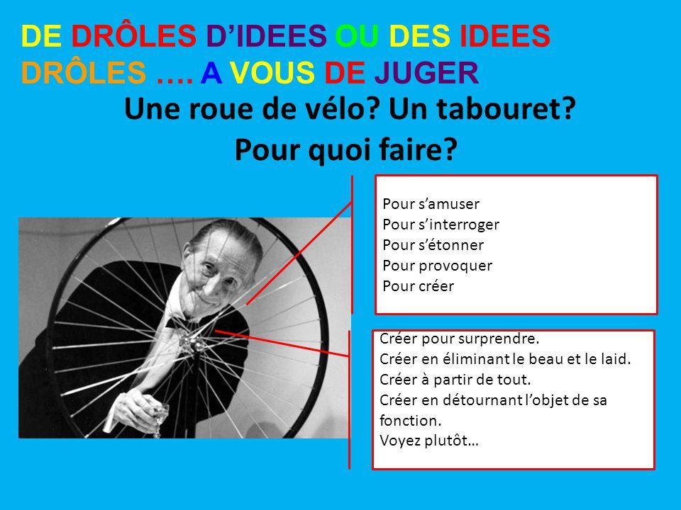 Une roue de vélo Un tabouret