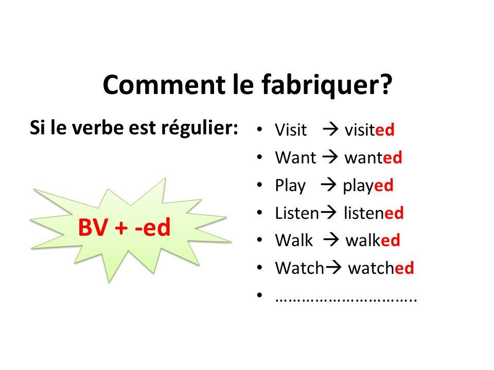 Comment le fabriquer BV + -ed Si le verbe est régulier:
