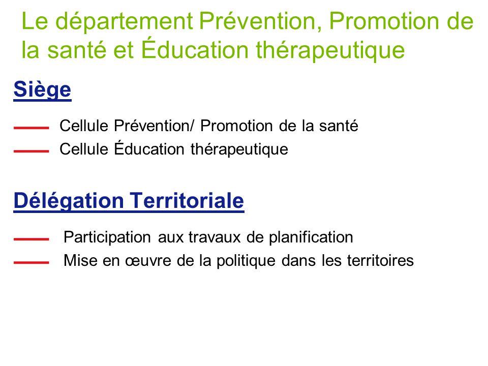 Le département Prévention, Promotion de la santé et Éducation thérapeutique