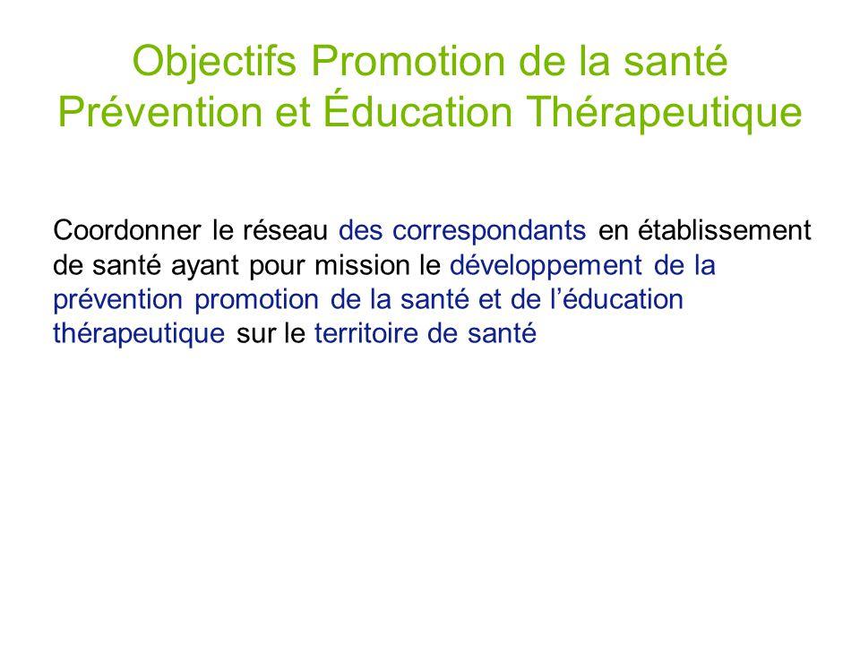 Objectifs Promotion de la santé Prévention et Éducation Thérapeutique