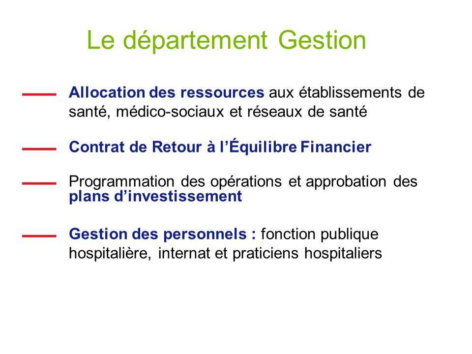 Le département Gestion