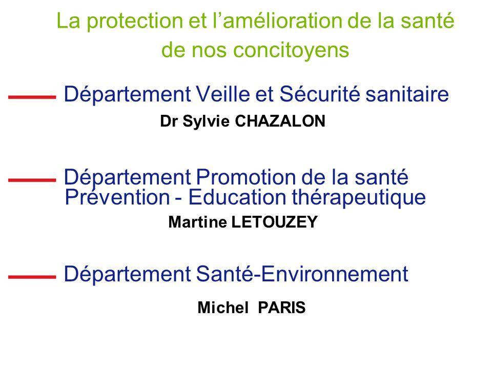 La protection et l'amélioration de la santé de nos concitoyens