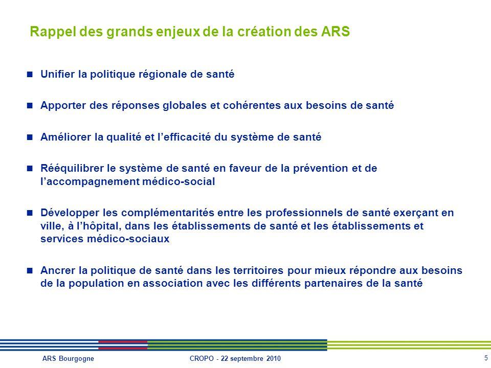 Rappel des grands enjeux de la création des ARS