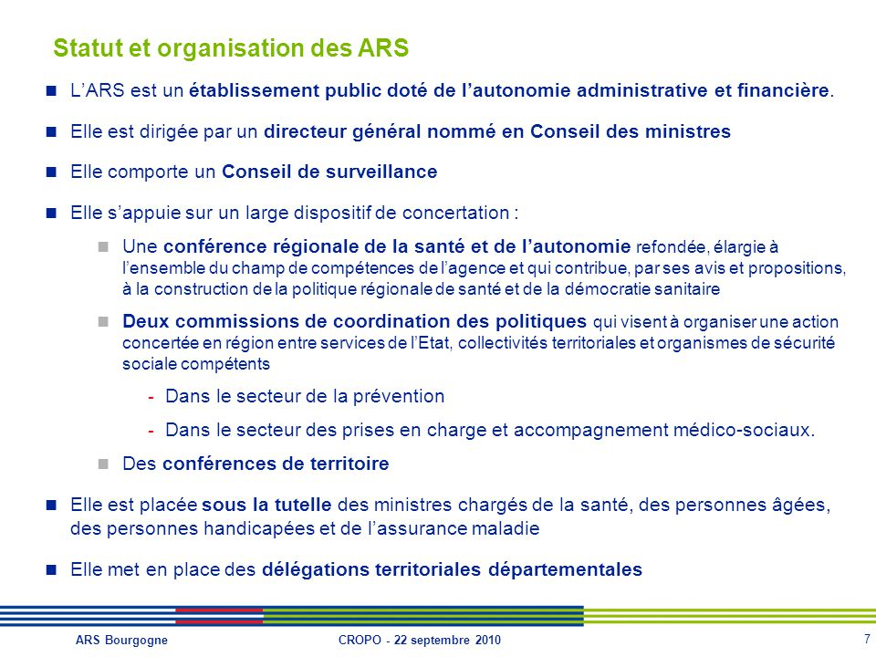 Statut et organisation des ARS