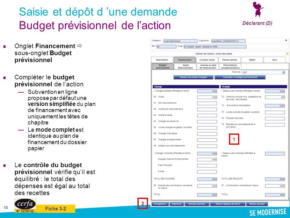 Saisie et dépôt d 'une demande Budget prévisionnel de l'action